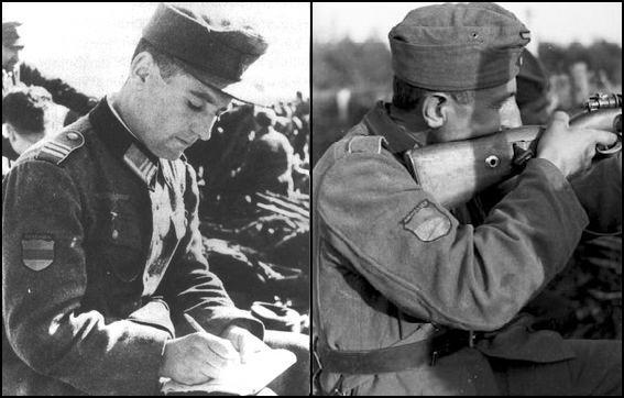 Dos fotografías de la Legión Armenia. Izquierda: Armenio en un descanso escribiendo una carta. Derecha: Armenio en combate con un rifle Mauser Kar-98 disparando desde una trinchera.