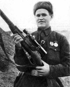 Francotirador soviético Vasily Zaitsev.
