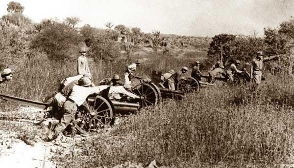 Artillería paraguaya en el Chaco.