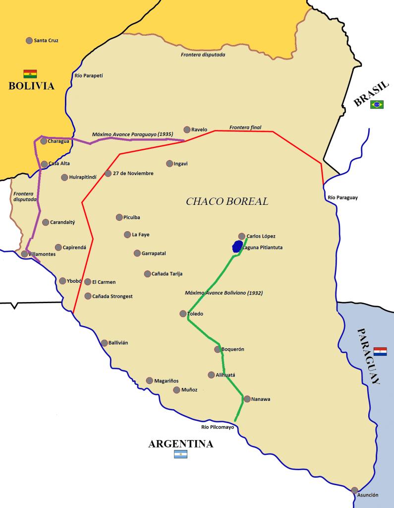 Mapa de la Guerra del Chaco (1932-1935) entre Bolivia y Paraguay.