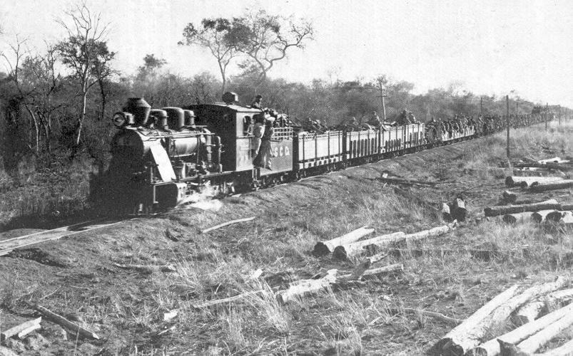 Tren de tropas paraguayas en el Chaco.