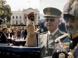 Derecha: Haile Selassie con el Presidente John Kennedy de Estados Unidos. Izquierda. Con el Generalísimo Francisco Franco de España.