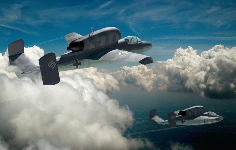 Fotografía durante una reconstrucción del siglo XXI de dos Heinkel He 162 en vuelo.