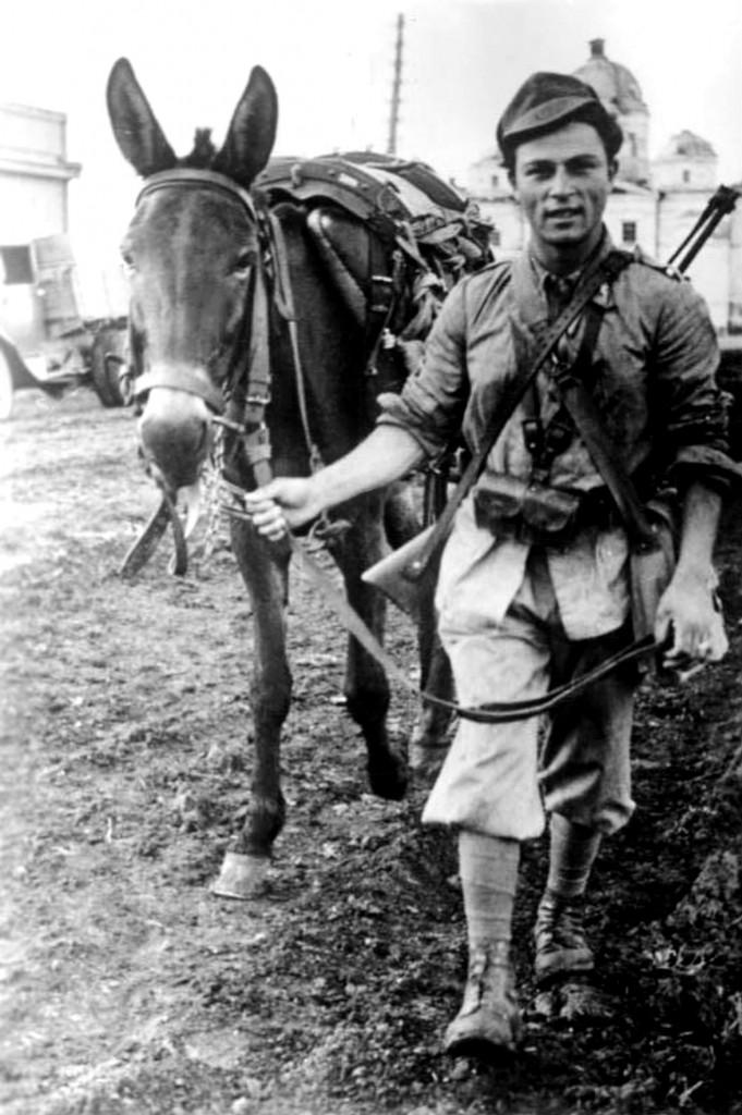 Soldado italiano del Grupo de Caballería Barbo en el sector sur durante la Segunda Batalla de Kharkov.